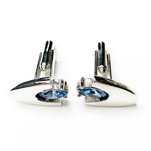Vintage Accessories - Vintage Mid Century Silver Blue Stone Cuff Links